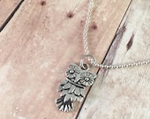 "Owl necklace, trendy necklace, small owl charm necklace, 18"" silver plated ball chain"