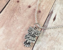 """Owl necklace, trendy necklace, small owl charm necklace, 18"""" silver plated ball chain"""