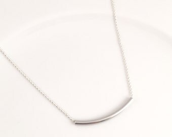 Silver Tube Necklace, Trendy necklace, Layering necklace, 20 inch silver plated necklace, ball chain necklace