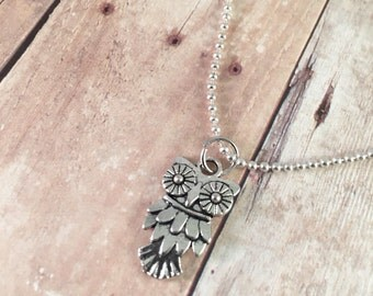 """Owl necklace, charm necklace, trendy necklace, small owl charm necklace, 20"""" silver plated ball chain, gift for her"""