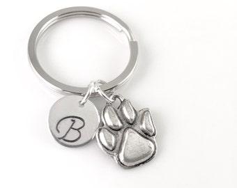 Paw Print Keychain, Wild Cats Keychain, Initial Keychain, NU Wildcats, Clemson, Dog Mom, Mascot Keychain, College University Keychain
