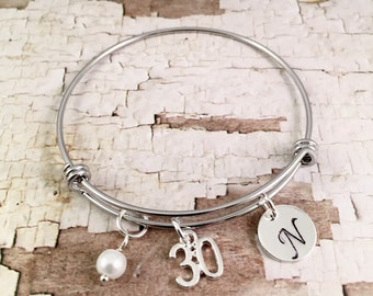 30th birthday gift, birthday bracelet, Initial Charm Bracelet, adjustable bangle, 30th birthday bracelet, pearl bracelet,  gift for her