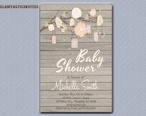 RUSTIC BABY SHOWER Invitation, Flower Baby Shower Invitation, Wood Baby Shower Invitation, Country Baby Shower, Vintage Baby Shower, Branch