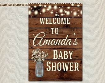 RUSTIC BABY SHOWER Sign, Flower Baby Shower Sign, Wood Baby Shower, Rustic  Baby