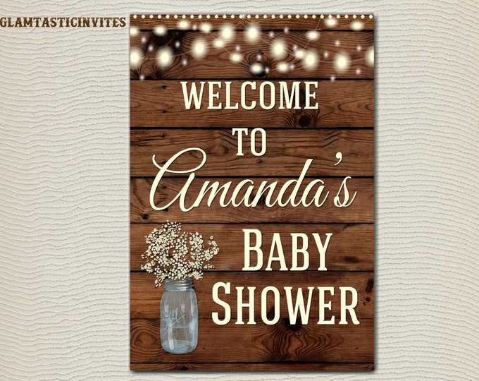 RUSTIC BABY SHOWER Sign, Flower Baby Shower Sign, Wood Baby Shower, Rustic Baby Shower, Rustic Decor, Baby, Baby Shower Decor, Digital Sign