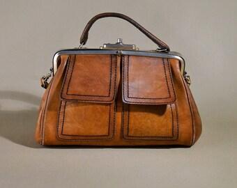 Original Fifties Vintage Leather Handbag, Shoulderbag, Lady Bag, Shoulder Purse