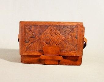 Vintage Cognac Colored Leather Bag, Shoulderbag, Shoulderpurse, Snake Leather Bag