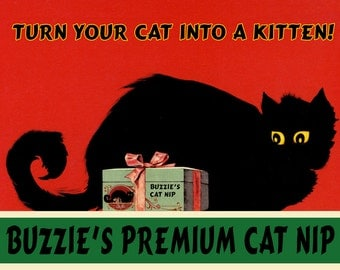 Cat Turn Your Cat Into a Kitten Buzzie's Premium Cat Nip Vintage Poster Repro FREE SHIPPING