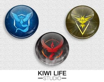 Pokemon Team Buttons - Instinct/Valor/Mystic (Pin/Magnet)
