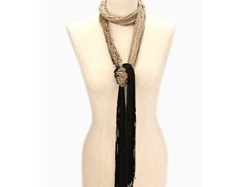 Black & Beige Ombre Tie Dyed Skinny Fringe Rope Scarf