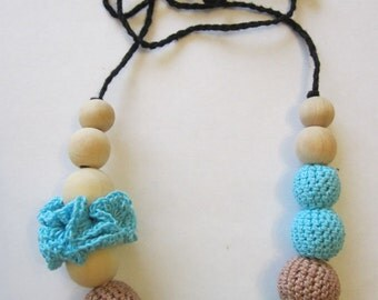 Electric bluenecklace, Breastfeeding necklace, Teething necklace, Wrap baby Carrier Sling accessories, Fashion accessory