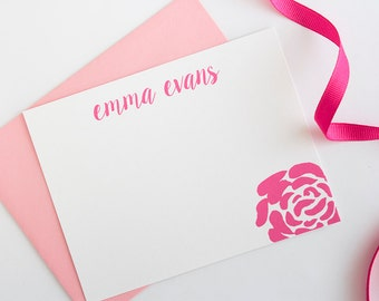 Personalized Stationery  | Floral Stationery | Rose Calligraphy Stationery | Women's Stationery | Girl's Note Card Set