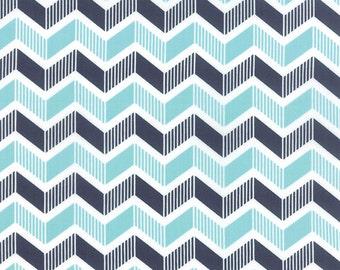1/2 yd SALE Mixologie Chevron Zig Zag by Studio M Metro for Moda Fabric 32982 15 Ice Blue