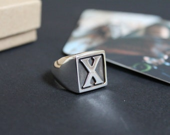 X RING / Straight Edge Ring / Mens Signet Ring / Initial Ring / Monogram Signet Ring / Mens X Ring / Straight Edge Signet Ring