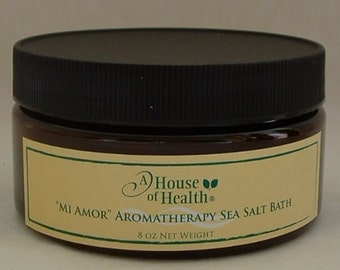 Bath Salts, Mi Amor Aromatherapy Sea Salt Bath 8 oz., Salt Bath, Vegan