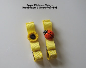 Sunflower | Ladybug | Hair Clips for Girls | Toddler Barrette | Kids Hair Accessories | Grosgrain Ribbon | No Slip Grip | Summer