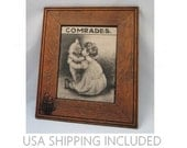 "Antique Ullman Lithograph of ""Comrades"" in Unique Original Frame                   1907 Copyright"