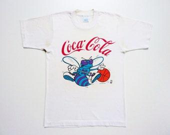 Vintage 80's Tee-Shirt Coca Cola Charlotte Hornets Basketball Team