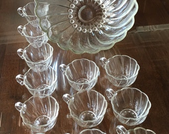 Hazel Atlas Seashell Swirl Pattern Clear Glass Punch Bowl, w/Twelve Matching Seashell Swirl Punch Cups