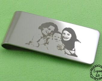 Contour Profile Photo Convert Laser Engrave, Memorial Script, Text  Engrave Money Clip, Bookmark Stainles Steel Gift Idea