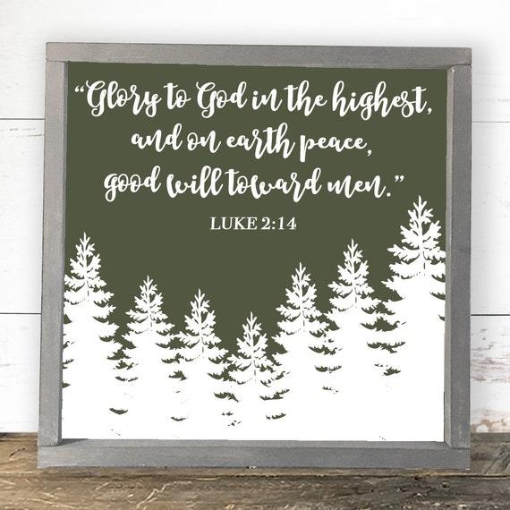 Christmas Decorations Luke 2:14 Glory to God in by SorellebyJenn