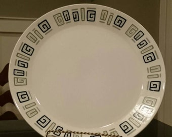 Style House Ironstone/Index/Made in Japan/Geometric Design/Atomic Age/Mid-Century Modern/Chop Plate/Cake Plate/Platter