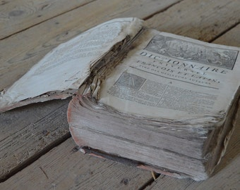 SALE Impressive Old French/Latin Book, 1770, Heavy, Antique, Time Worn, Latin French Dictionary