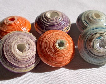 Jumbo Ziyanda Collection Mix -  Recycled Paper Beads Pack of 6  - Fair Trade from Mzuribeads Uganda - Size 3cm approx