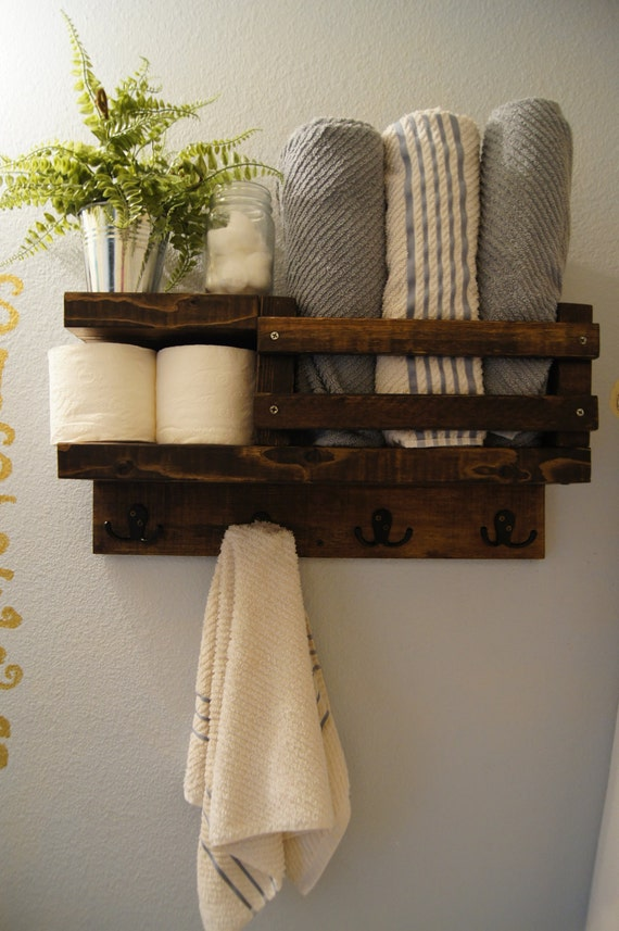 Hanger bathroom rustic storage floating shelf modern bathroom shelf