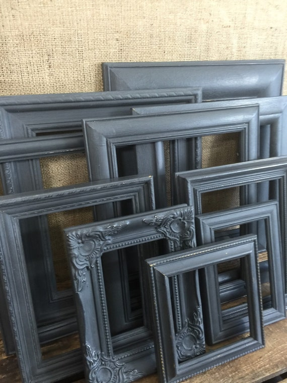 Custom Painted Ornate Frames in Black - Set of Black Painted Shabby Vintage Chic Frames - Assorted Black Gothic Frame Set Custom Painted