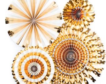 Gold paper Pinwheel Fans. Set of 4.  Gold foil rosettes. Gold party pinwheels.  Gold party decor. Gold pinwheel fan dessert table Backdrop.