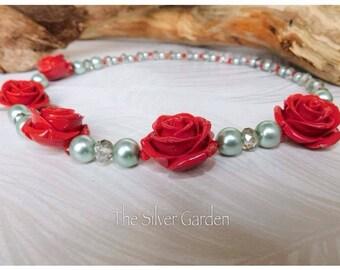 Rockabilly Statement Necklace, Rose Necklace, Vitage Pearl Necklace, Rockabilly Jewellery, Rockabilly Bride, Retro Bride, Vinatege Bride
