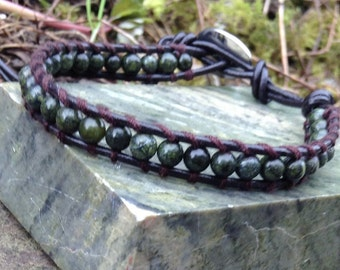 Irish wrap friendship bracelet. Connemara marble. Jewellery Ireland. Real leather.
