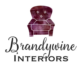 Premade Customizable Watercolor Logo - The Brandywine - Decorator - Furniture - Business Cards - Blog - Marketing - Branding