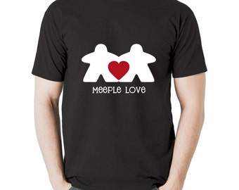 Meeple Love T-shirt | black tshirt for board game geeks, tabletop gamers and meeple people | board gaming shirts | geeky goodies