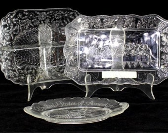Pressed Glass Trays -Set of 3