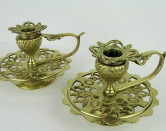 Vintage Antique Ornate Brass Candlesticks~Candle Holders with Finger Loop Handle~Mid Century Hollywood Regency Brass Decor