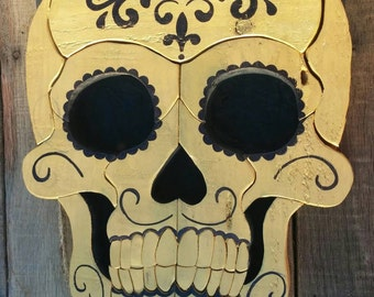 Gold and Black Day Of The Dead Painted Wooden Sugar Skull