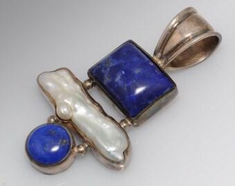 Sterling Silver, Blue Lapis and Pearl Inuksuk Pendant