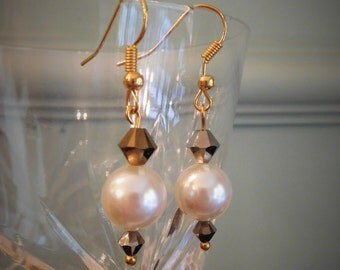 Gold plated cream pearl drop earrings