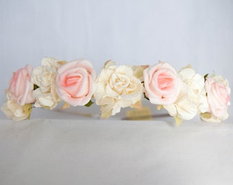 Floral Crown Flower Hairband Headband - Ivory Pink Roses Rose Bridal Wedding Hair Accessories Festival Bridesmaid Flowergirl