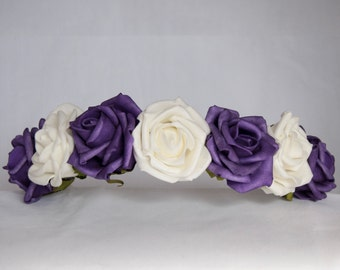 Floral Crown Flower Hairband Headband - Purple Ivory Roses Crown Wedding Festival Bridesmaid Flowergirl Special Occasion Hair Accessories