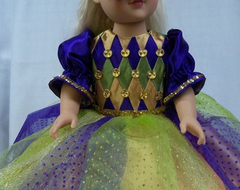 """Mardi Gras Party Dress and Sequin Mask for 18"""" doll"""