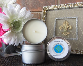 Lemongrass Sage Scented Soy Travel Candle 4 oz Metal Tin
