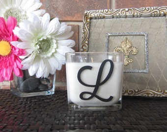 Monogrammed Single Initial  Scented Soy Candle 10 oz Square (in a variety of colors and fragrances)