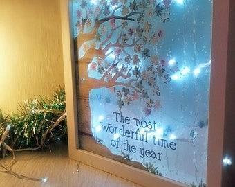 Christmas Lights, Winter Wonderland Scene, Festive Decor, Xmas Decorations, Seasonal Home Lighting, Snowy Decor, Cosy lighting, lightbox