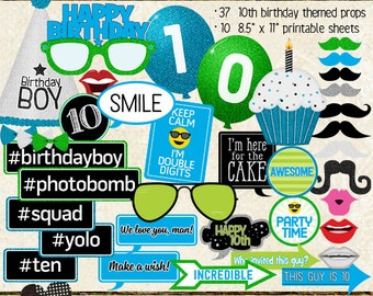 Photo Booth Props, HAPPY 10TH BIRTHDAY, boy, printable sheets, instant download, cyan, lime, blue, green party