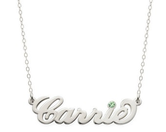 Birthstones Custom Made Carrie Style Nameplate Necklace select any name to Personalize in 925 Sterling Silver