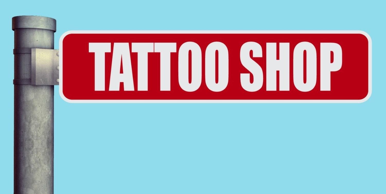 Tattoo shop street sign heavy duty aluminum warning parking for Street sign tattoos