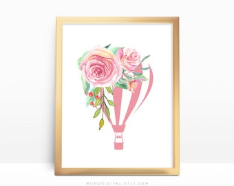 SALE -  Floral Hot Air Balloon, Shabby Chic, Watercolor, Floral Flower Nature, Baby Girl Nursery, Hand Painted Illustration, Modern